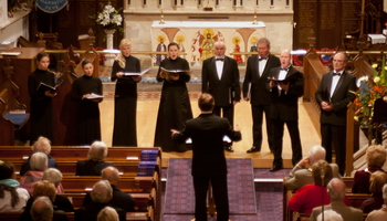 The Voskresenije Choir singing at Llandeilo during October