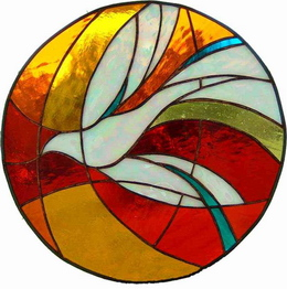 The Holy Spirit, shown in stained glass as a dove