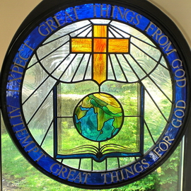 The Carey memorial window at Moulton Baptist Church