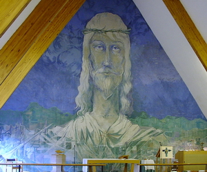 A striking feature of the sanctuary is the 30-feet high Byzantine-style mural painted by Derek Seymour