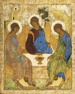 Rublev's icon of the angels at Mamre
