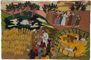 A colourful tapestry by Norma Ulloa. an embroiderer from Copiulemu, to illustrate the theme of WDP 2011